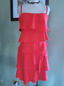 BCBG RED ORANGE GINGER STRAPLESS RUFFLE TIERED DRESS SIZE 8