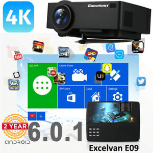LED Projector 3D Home Theater 3600 Lumens FHD 1080P 4K Android 6.0 WIFI Wireless
