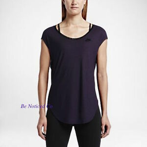 Nike T2 Women's Noble T-Shirt L Purple Gym Casual Training Running New