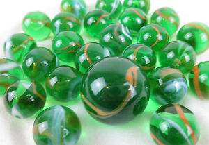 25 Glass Marbles JUNGLE Green Orange transparent game vtg style Shooter Swirl