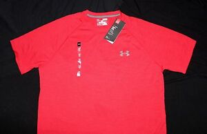 Men's S M Under Armour Tech T-Shirt Crew SS Loose Fit Red Quick Dry 1228539 607