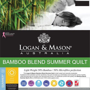 LOGAN AND MASON BAMBOO SUMMER QUILT Doona Quilt Single Double Queen King Super AU $139.95