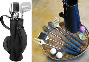 7 Piece Golf BBQ Set - Golf Grip Barbeque Set  - Stainless Steel -7 pc Grill Set