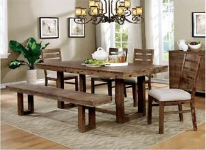 U Shaped Legs 6pc Dining Room Set Table Bench & Side Chairs Natural Tone Finish