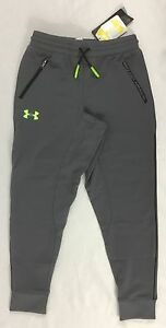 Under Armour Boys Youth Jogger Sweat Pants Stealth Gray Neon 1281072 Size XL