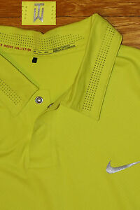 TIGER WOODS COLLECTION NIKE GOLF DRI-FIT POLO SHIRT NEON  METAL SNAP EC XXL