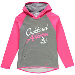 Under Armour Oakland Athletics Girls GrayPink Color Blocked Performance Hoodie