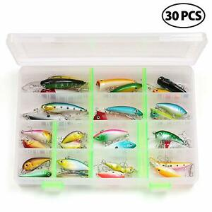 30x Fishing Lures Crankbaits Hooks Minnow Baits Fishing Tackle Storage Box Set