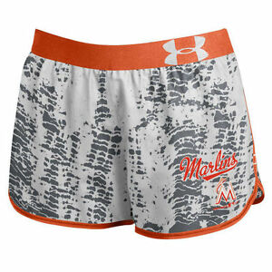 Under Armour Miami Marlins Women's Performance Tied Up Gray Running Shorts