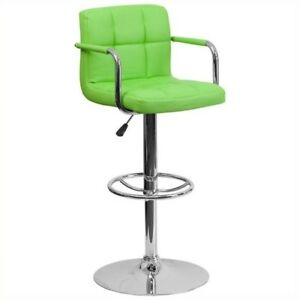 Flash Furniture Quilted Adjustable Bar Stool with Arms in Green