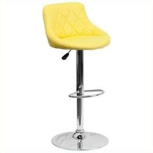 Flash Furniture Adjustable Quilted Bucket Seat Bar Stool in Yellow