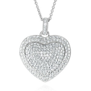 Fashion Heart Pendant Made with Swarovski Crystals in Platinum-Plated  Bronze