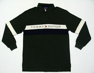 VTG TOMMY HILFIGER SPELLOUT COLORBLOCK RUGBY SPORT POLO SHIRT SWAG HIP HOP LG