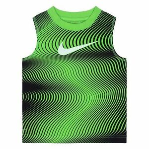 Nike Size 7 Little Boys Sleeveless Tee Shirt Dri-FIT Athletic Tank GreenBlack