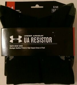 BOY'S NEW 6 PAIR UNDER ARMOUR UA RESISTOR YOUTH CREW SOCK SHOE SIZE 1-4 (1103