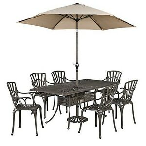 Home Styles 5561-3786 Largo 7PC Dining Set wUmbrella Taupe NEW