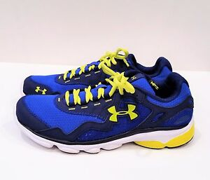 Under Armour Boys Running Shoes Size 7Y Blue & Yellow 1235695-486 Worn Once!
