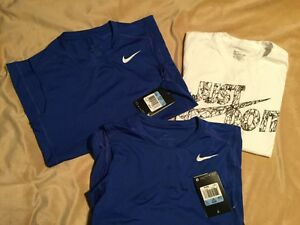 BOYS SZ. M NIKE SLEEVELESS DRI-FIT TRAINING SHIRT NWT BONUS NIKE T-SHIRT