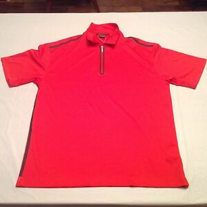 NWT Nike Tiger Woods Platinum Fit Dry 14 Zip Golf Polo Shirt Size L Red New