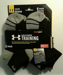 BOY'S NEW 6PAIR UNDER ARMOUR RESISTOR TRAINING LOW CUT SOCK SHOE SIZE 1-4 (1103