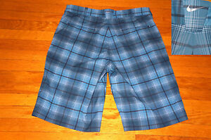 NIKE GOLF SHORTS PERFORMANCE STRETCH FABRIC BLUE PLAID DRIFIT EC! 32 TAG 33 MEAS