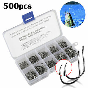 500pcs Fish Jig Hooks with Hole Fishing Tackle Box 10 Sizes Carbon Steel w Box