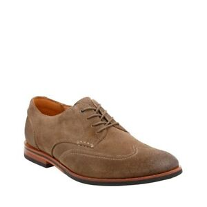 Mens Shoes Clarks Broyd Wing Casual Suede Wingtip Oxfords 24126 Olive *New* $90.50