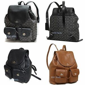 New Coach F37410 F37621 Billie Charlie Backpack Pebble Leather Jacquard NWT