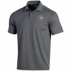 Under Armour Chicago Cubs Gray Coolswitch Ice Pick Performance Polo