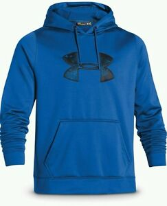 NEW Men's UNDER ARMOUR Storm RIVAL Big Logo Hoodie Sz XL TALL Blue Jet  $65.00