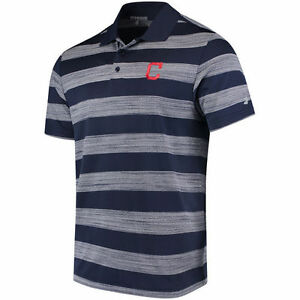 Under Armour Cleveland Indians Navy Skyball Tonal Stripe Polo - MLB