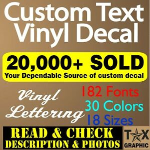 Custom Vinyl Lettering Decal Personalized Sticker Name Window Text Wall Car $9.95