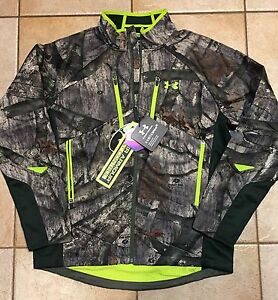 Under Armour Scent Control Softershell Camo Jacket Mossy Oak Men's size Large L