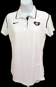 Georgia Bulldogs Women's Medium NIKE Dri-Fit Polo Shirt - White - Equestrian
