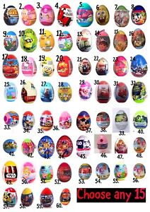 NEW Any 15 Plastic Surprise Eggs With TOY, Candy, Stickers...over 64 Varieties!!