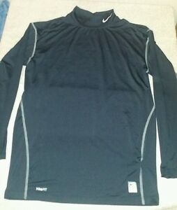 Mens XXL Nike Pro fit-dry Black long sleeve Mock neck  compression shirt