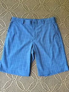 Mens NIKE Golf Dri-Fit Fit Dry Shorts 36 Blue Stripes Striped NICE Men's Plaid
