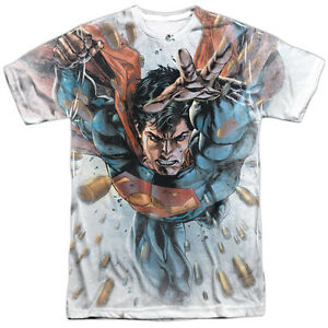 Superman BULLETS IN THE SKY 1-Sided Sublimated Big Print Poly T-Shirt