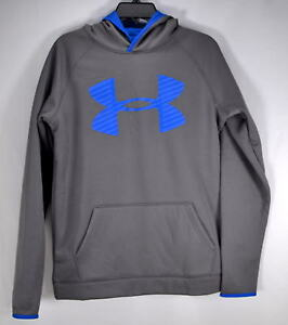 Youth Boy's Under Armour Storm Water Repellant Pull Over HoodieGreyBlueXL