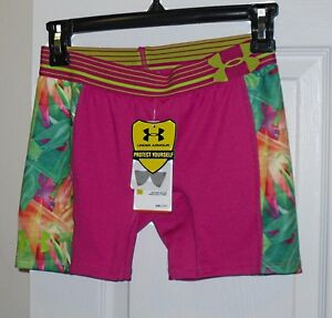 NWT Girls Under Armour Anti-Odor Fitted Compression Shorts - Sz XS