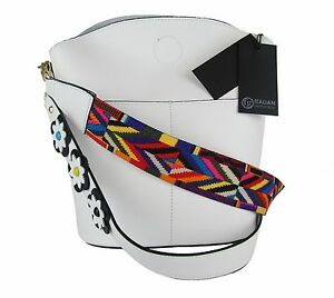 BUCKET Woman Shoulder bag genuine leather Made in Italy fashion White