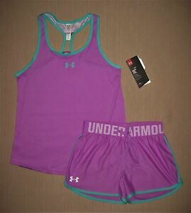 NWT UNDER ARMOUR GIRL'S SHORTS AND MATCHING TOP SZ L
