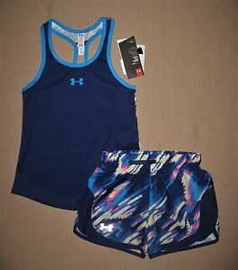 NWT UNDER ARMOUR GIRL'S ATHLETIC SHORTS AND MATCHING TOP SZ S or L