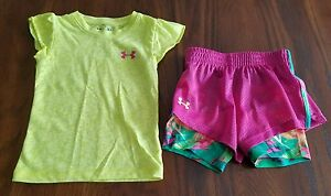Under Armour Athletic Shirt And Shorts Girls Toddler Size 2T3T Tropical