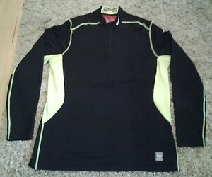 Nike Pro Combat Hyperwarm Dry Fit Max black yellow fitted 14 zip shirt size XL!