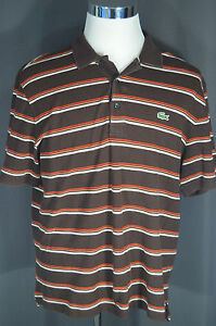 Lacoste Sport Men's Polo Shirt Brown Red Stripe Size 7 XL Extra Large (see meas)