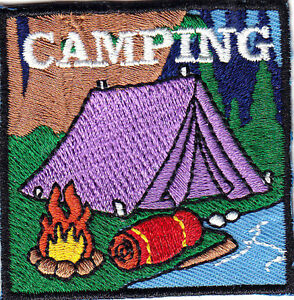 CAMPING Iron On Patch Scouts Girl Boy Cub Camp Camper Outdoors Tent