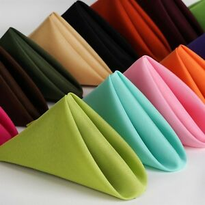 100PK 17x17 inch Polyester Napkins  ~NEW~ Wedding Holiday Party 15+ Colors