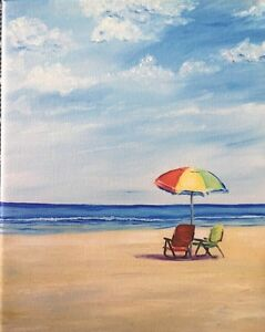 Signed PRINT of ORIGINAL OIL Painting Beach Seascape Vacation