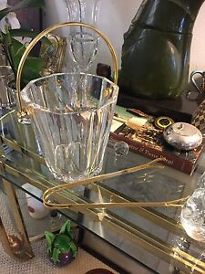 Vintage Baccarat Icon Crystal Ice Bucket With Tongs Beautiful Gold Tone Handled